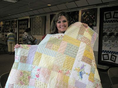 Tracy and quilt