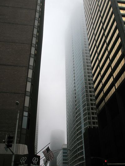 Foggy buildings