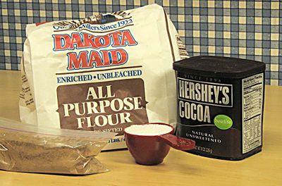 9. flour, sugar, cocoa